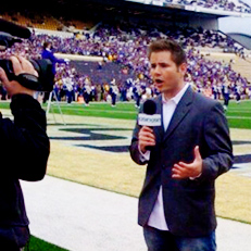 Image of: A sideline report at work.