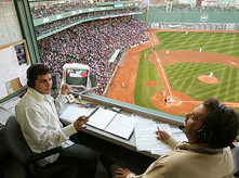 Sportscasting Announcers at a Baseball Game